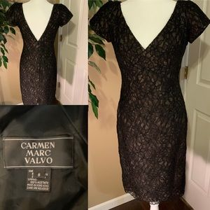 Carmen Marc Volvo black lace midi dress size 8